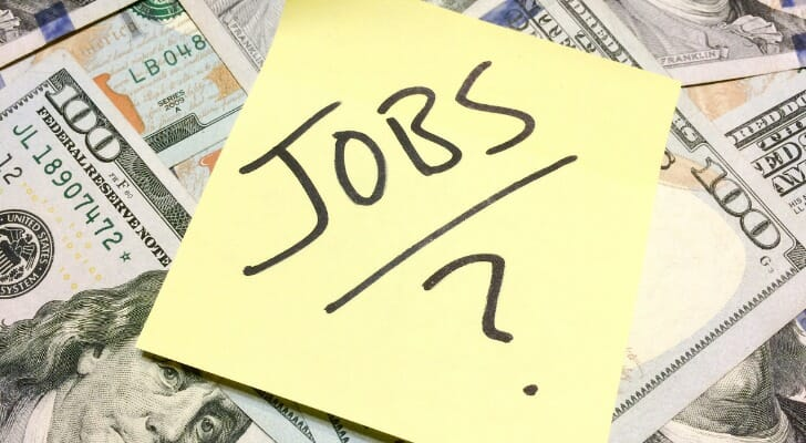 "A note that says ""JOBS ?"""