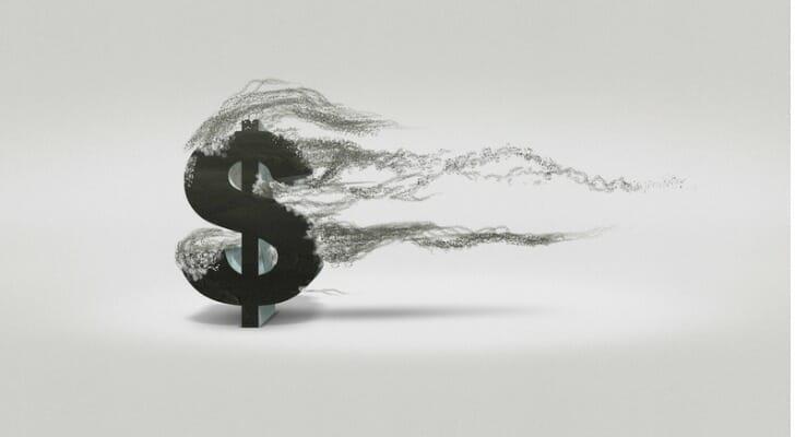 Dollar sign blowing away