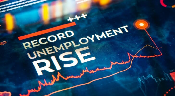 "Sign that says, ""Record Unemployment Rise"""