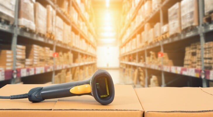 Barcode scanner in a warehouse