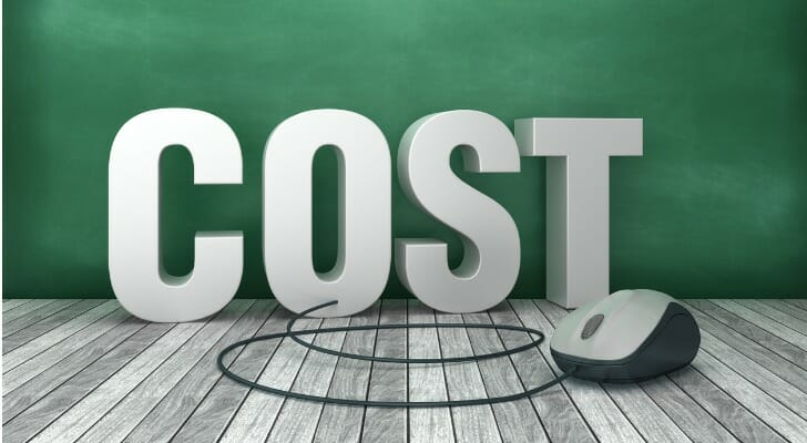 """Computer mouse in front of block letters spelling the word """"COST"""""""