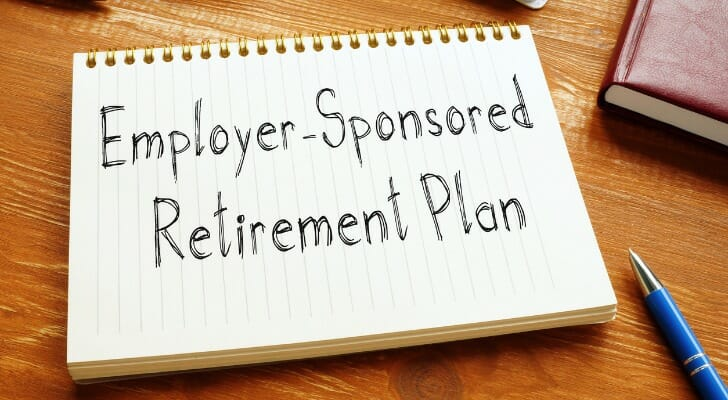 """Employer-Sponsored Retirement Plan"" written on a sheet of notebook paper"