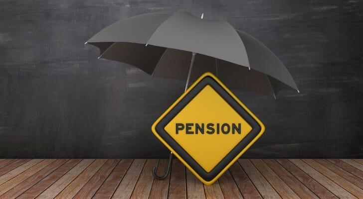 Umbrella with pension road sign
