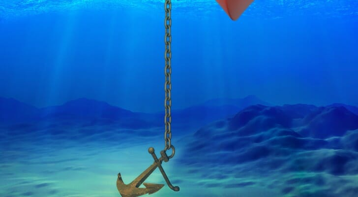 Anchor under a boat