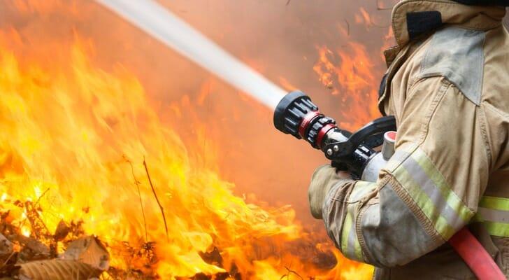 Firefighters battle a large blaze
