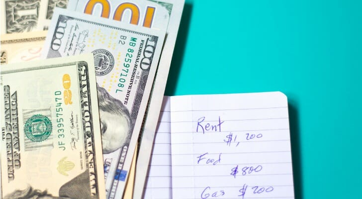 Image shows U.S. $100 and $1 bills, along with a handwritten list of expenses (including rent, food and gas), against a turquoise background. SmartAsset analyzed rent data to find the income needed to meet rental expenses in the 25 largest U.S. cities.
