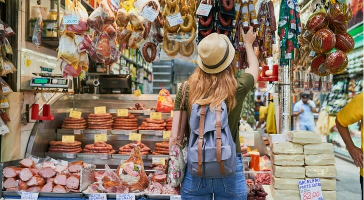 Woman shopping at a street market