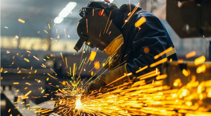 Grinder working in a factory