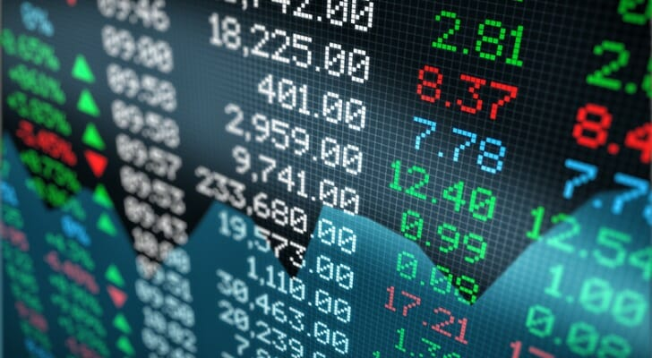 Shares prices displayed digitally