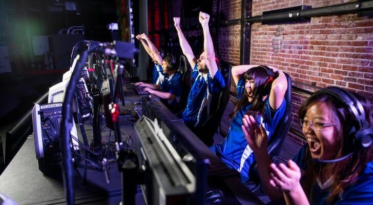 Esports team celebrates a victory