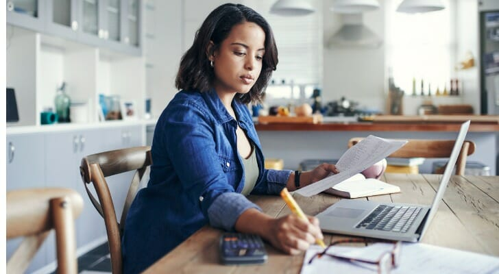 Freelancer doing her taxes