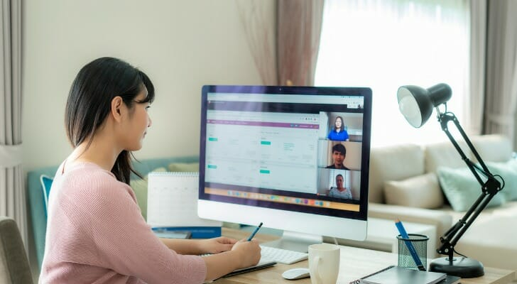most and fewest workers work from home