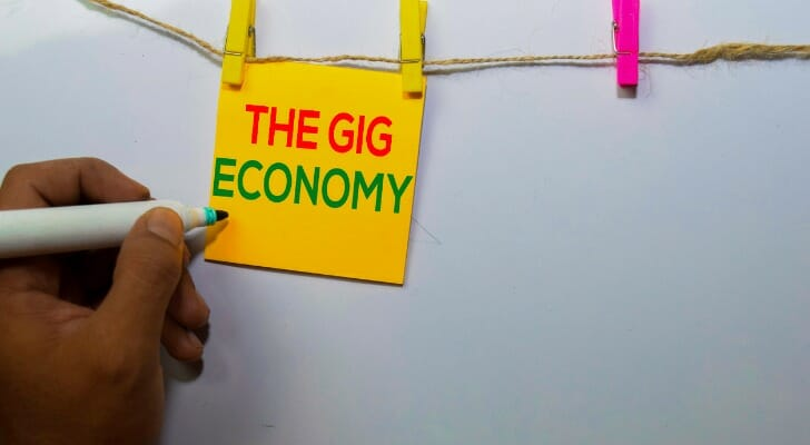 """A sign that says, """"The Gig Economy"""""""