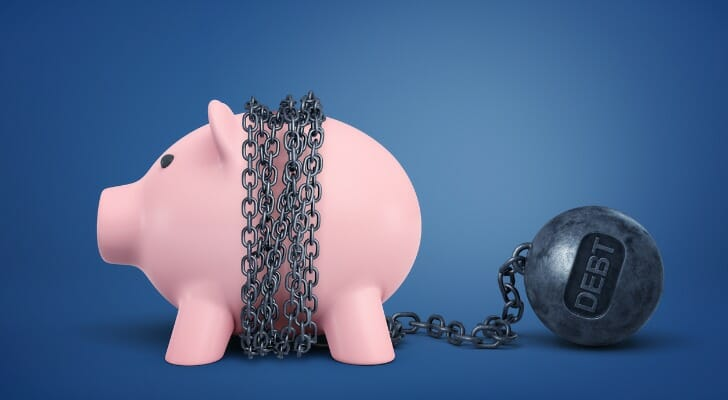 Piggy bank with chain around it