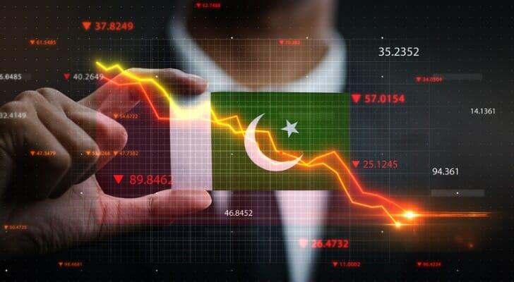 Pakistani flag with stock chart