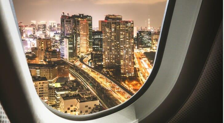 Tokyo skylinle from airplane window