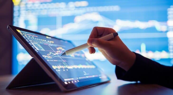 Investor checking dividend data