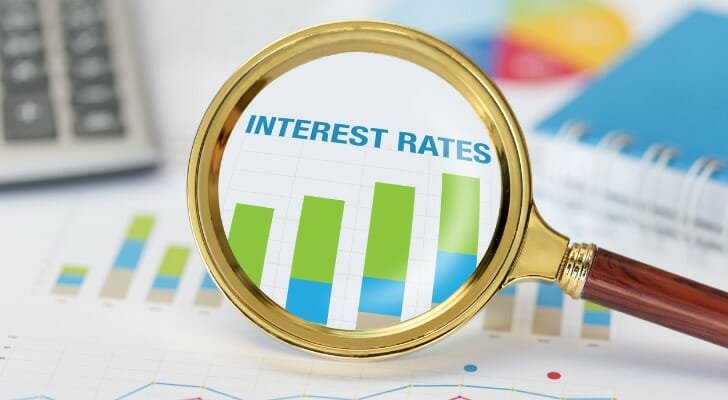 Magnifying glass and an interest rate chart