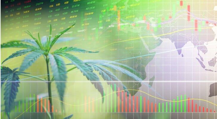 Stock chart with marijuana leaves