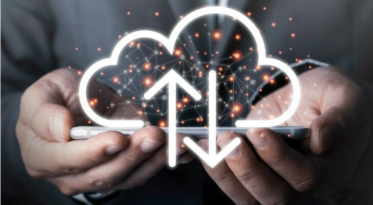 Man holding a digital cloud
