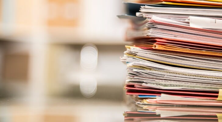 Stack of legal and financial documents
