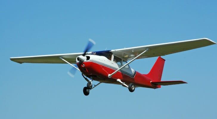 An airborne Cessna 172