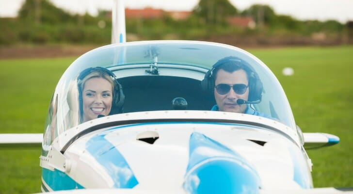 Man and woman in single-engine private plane