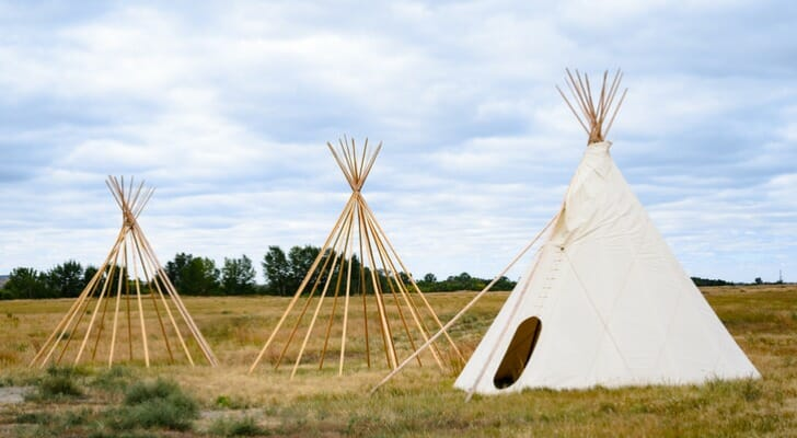 Indian teepees at the Fort Union Trading Post National Historic Site