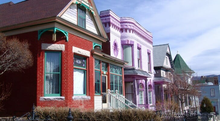 Old Victorian houses in Butte, Montana