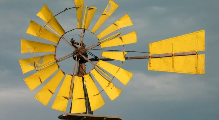 Yellow windmill near Billings, Montana