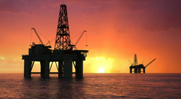 Two petroleum drilling rigs off the coast of Texas