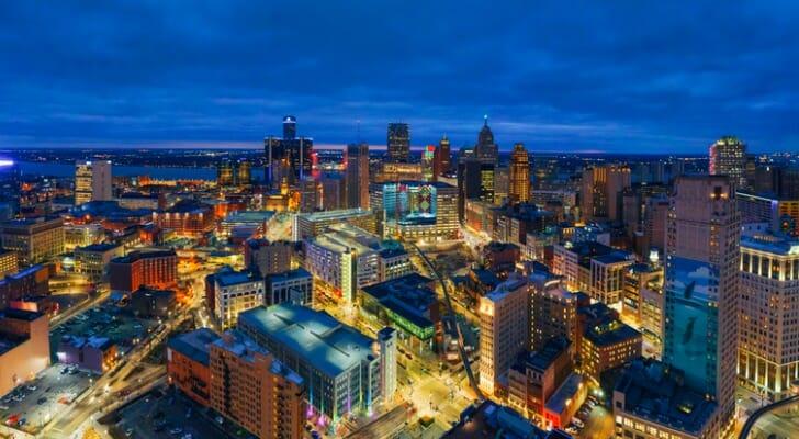 Skyline of Detroit at night