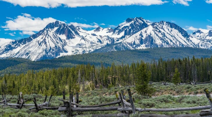A snow-capped mountain along the Sawtooth Scenic Byway in Idaho