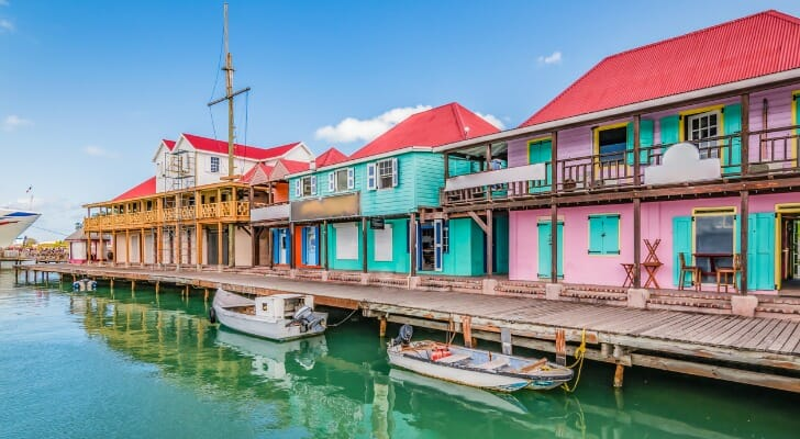 Houses in the Port of St John`s, Antigua and Barbuda
