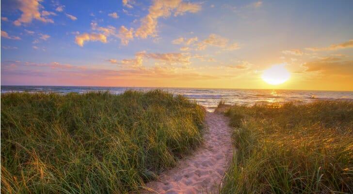 Sandy beach on Lake Michigan