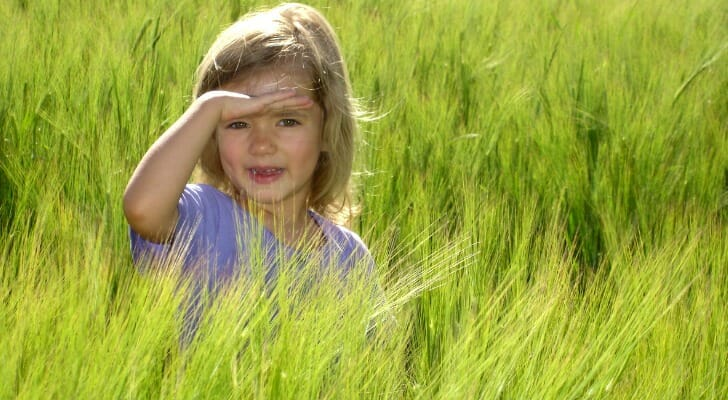Young girl in a field in Idaho