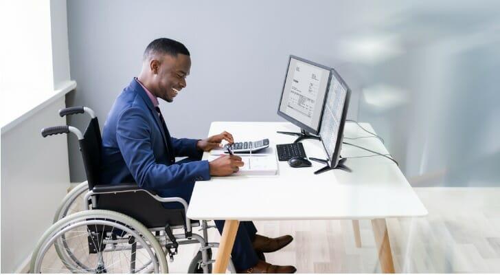 A disabled man in a wheelchair