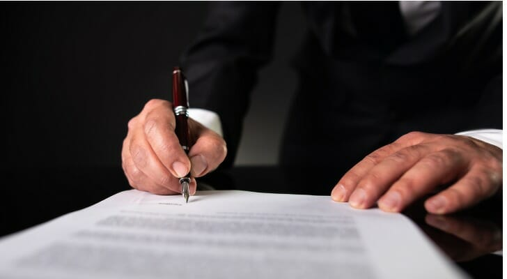 An estate planning attorney finalizes a trust document