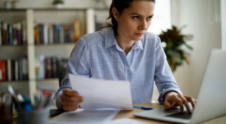 Businesswoman working on her company's taxes