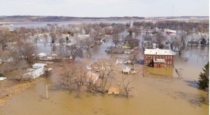 Pacific Junction, Iowa, under flood waters