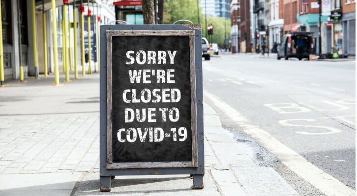 Sign saying a business is closed because of Covid-19