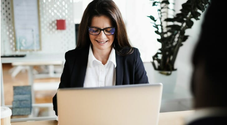 Woman checking her  ETF