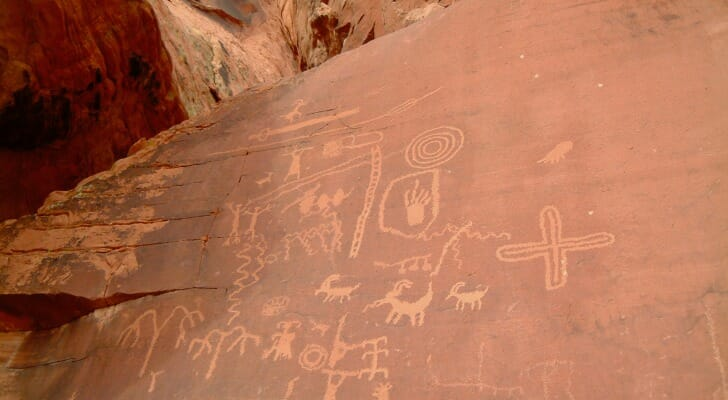 Ancient hieroglyphs in the New Mexico desert