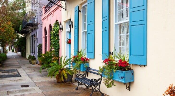 A residential sidewalk in Charleston, South Carolina