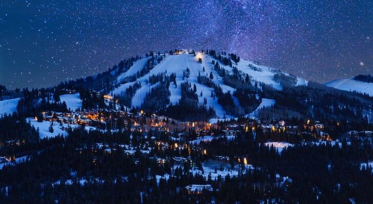 Deer Valley in Park City, Utah, at night