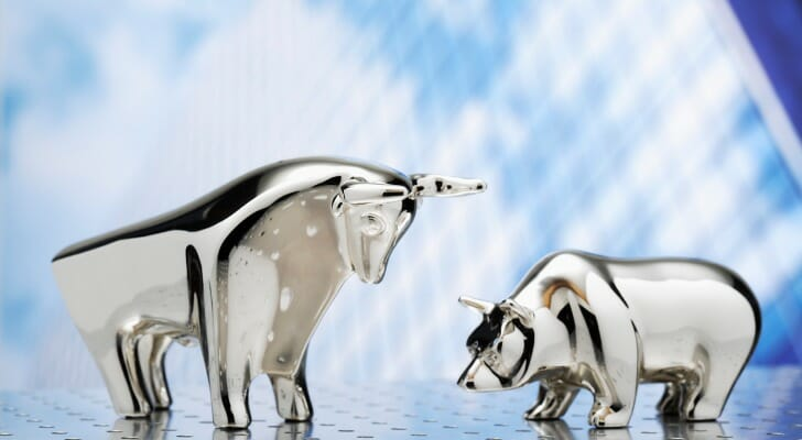 A model of a bull and a bear facing each other