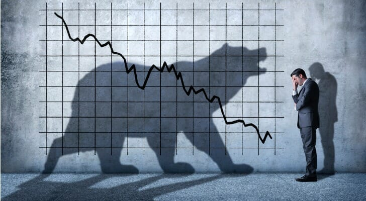 Shadow of a bear over a stock chart