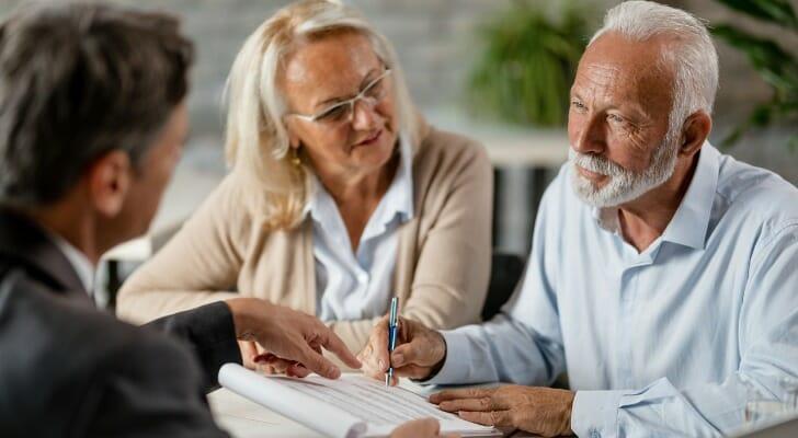 Senior couple arranging a life estate