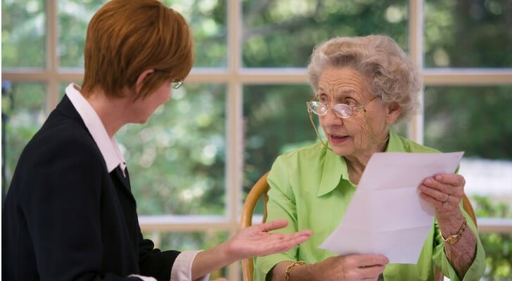 Senior woman meets with her estate planning attorney