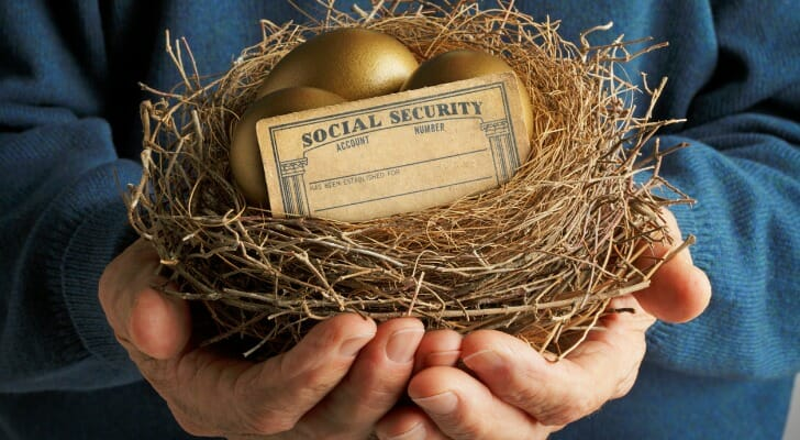 Man holds bird's nest with golden eggs and a Social Security card